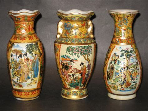 Painted Japanese Vases by Porcelain Ceramic Painted Japanese Vases Was Sold