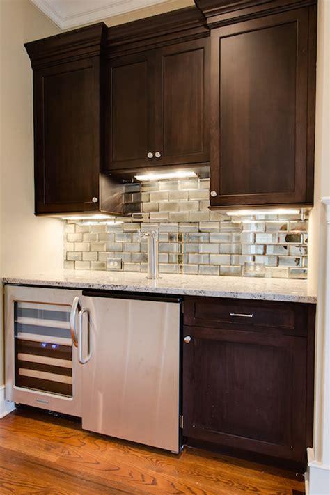 mirrored subway tile backsplash mirrored subway tiles contemporary kitchen jackson interiors