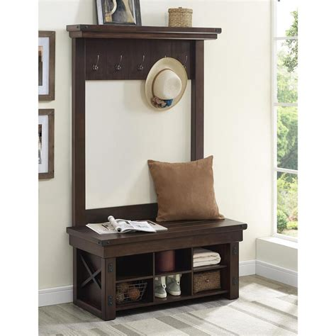 hall tree with storage bench furniture altra furniture wildwood mahogany hall tree 5045196com