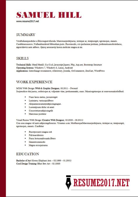 simple resume exles 2018 resume format 2018 16 templates in word