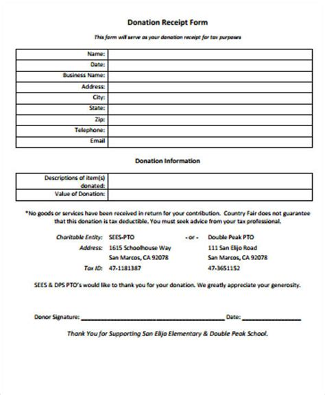 blank donation receipt template 39 free receipt forms sle templates