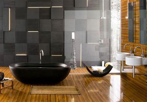 pavimento bagno moderno idee bagno moderno con inserti in legno e pietra