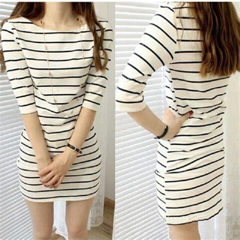 Mini Kinan Hitam Salur Putih baju mini dress pendek wanita motif salur belang cantik