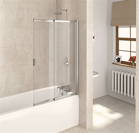 bathtub glass screen aqualux aqua 4 polished silver 2 panel slider bath screen