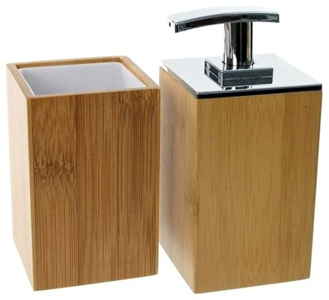 wooden 2 bamboo bathroom accessory set