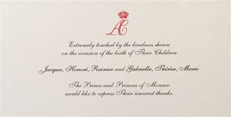 thank you letter to birth gert s royals thank you note from monaco for birth of