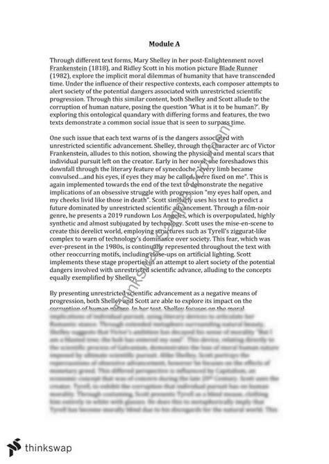 Blade Runner Essay by Frankenstein Blade Runner Essay Year 12 Hsc Advanced Thinkswap
