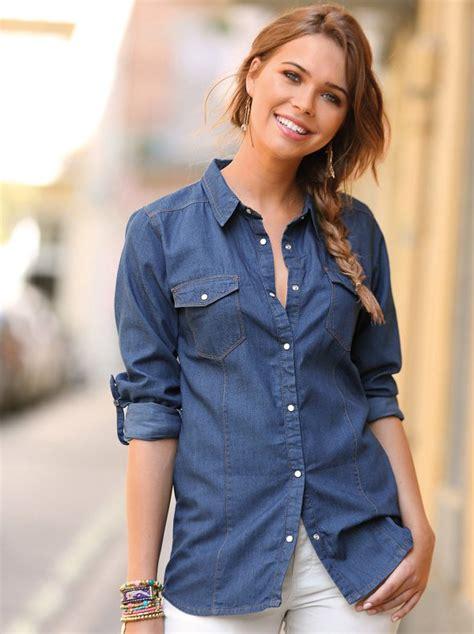 imagenes de blusas vaqueras camisa denim mujer manga larga regulable corte cl 225 sico