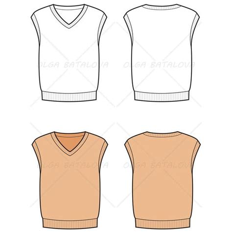 sweater template s knit sweater vest fashion flat template