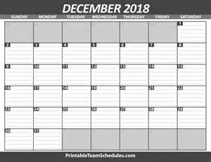 Calendar For 2018 December Printable December Calendar Template 2018