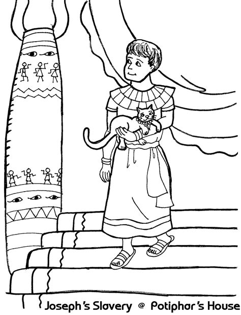 coloring pictures of joseph in egypt joseph s slavery at potiphar s house coloring sheet