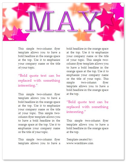 may template free may newsletter template by worddraw