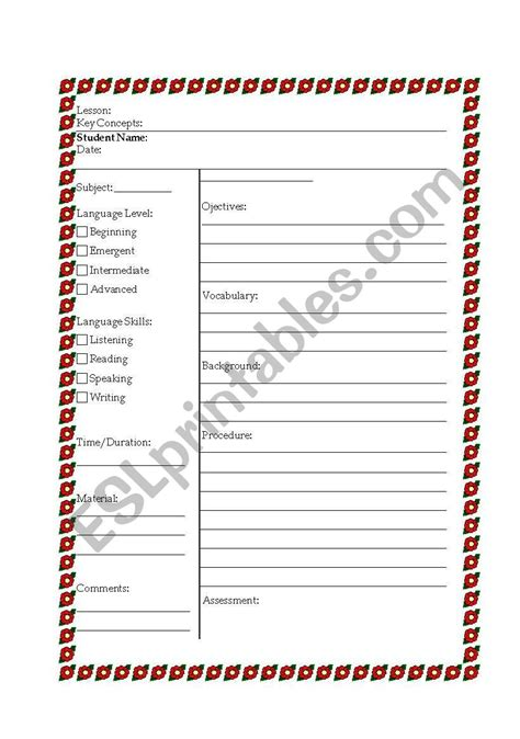 efl lesson plan template worksheets esl lesson plan template