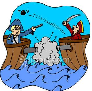 war boat clipart pirate ships fighting with cannons royalty free clipart