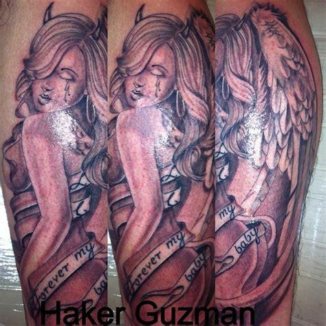 tattoo angel devil girl angel girl with devil horns and banner tattoo