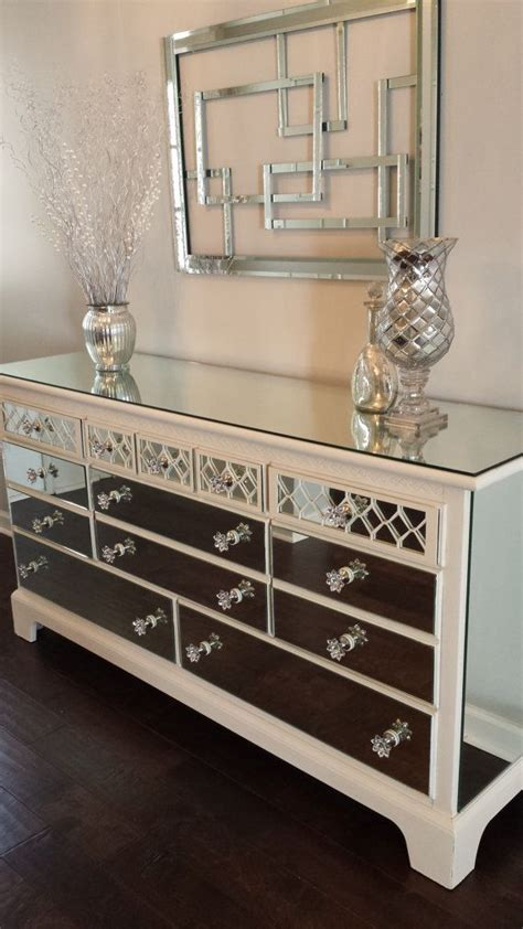Mirror Dresser Furniture by Mirrored Dresser White With Overlay Chic