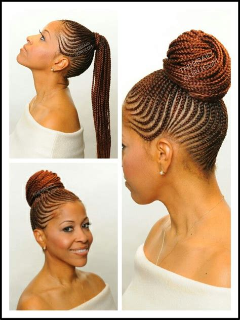 hair braided up into a bun style cornrow ponytail ethnic hair pinterest cornrow