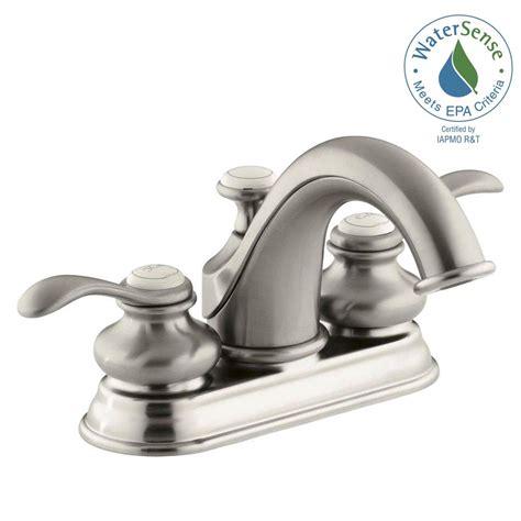 kohler fairfax low arc bathroom faucet brushed nickel