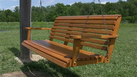 hanging wooden swing bench empty hanging bench swing stock footage video 609247