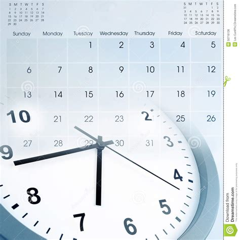 Faced Calendar by Clock And Calendar Stock Photo Image 50716136