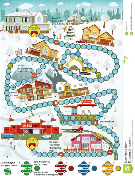 printable winter board games board game cartoon city winter stock vector