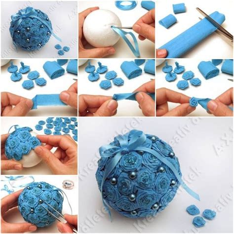 crepe paper flower ball tutorial how to make crepe paper flower ball step by step diy