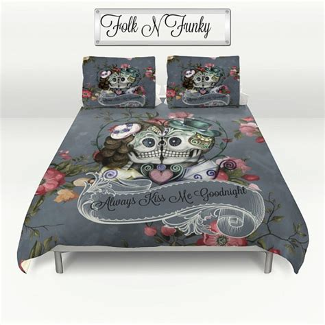 day of the dead bed set skull bedding sugar skulls duvet cover comforter by