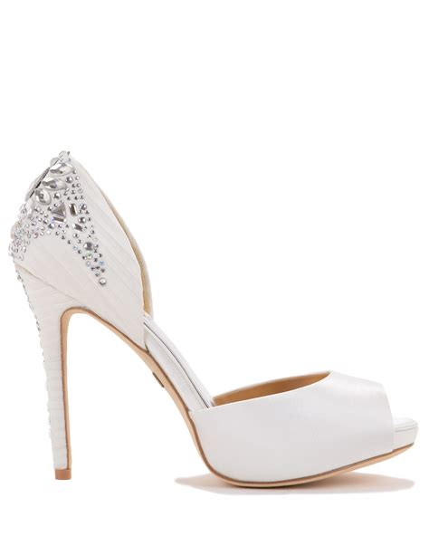 badgley mischka shadow embellished evening shoe in white