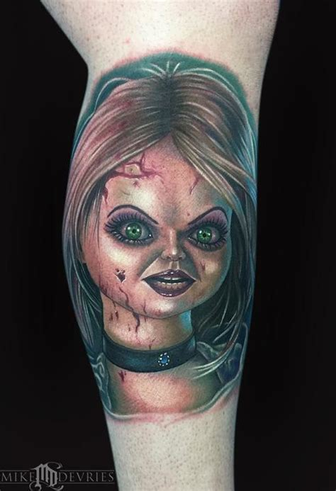 bride of chucky tattoo of chucky by mike devries tattoos