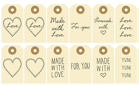 free printable made with love for you gift tags