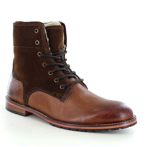 mens brown leather lace up boots paolo vandini pipers mens warm leather lace up boots brown