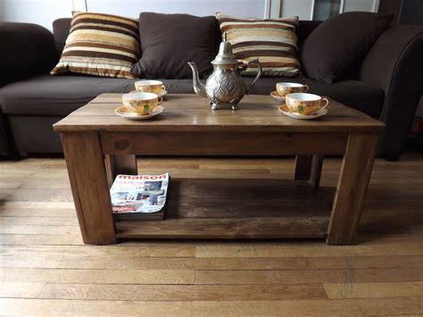 table basse en bois de palettes recycl 233 es r 233 cup meubles