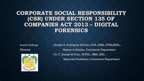 section 135 csr corporate social responsibility under section 135