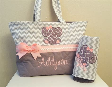 baby diaper bags boys girls babiesrus gray chevron elephant diaper bag baby girl xl by kimmykylieco