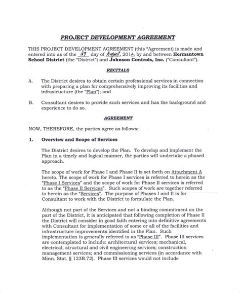 Development Agreement Contract Teacheng Us Sle Project Template
