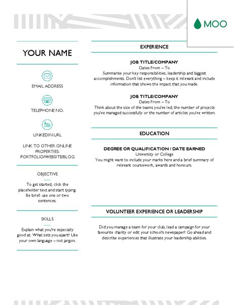 Creative Cv Designed By Moo Office Templates Moo Resume Templates
