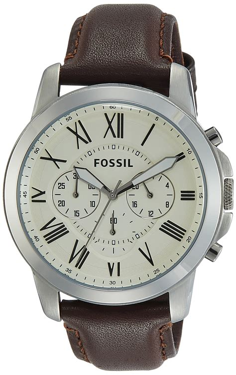 Leather Fossil fossil fs4812 grant chronograph black leather