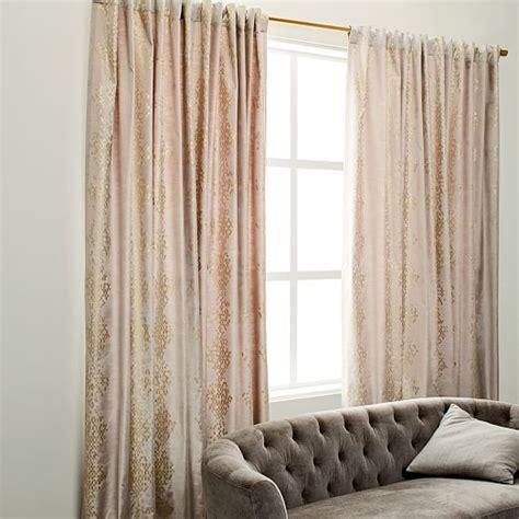 Velvet Patterned Curtains Luster Velvet Trellis Curtain West Elm