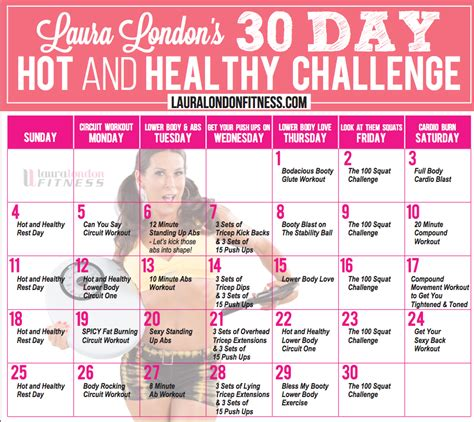 90 day weight loss challenge printable full workout plan 30 day workout challenge calendar with laura london