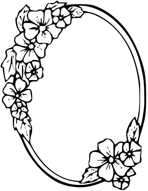pattern frame drawing floral oval frame clipart boarders pinterest oval