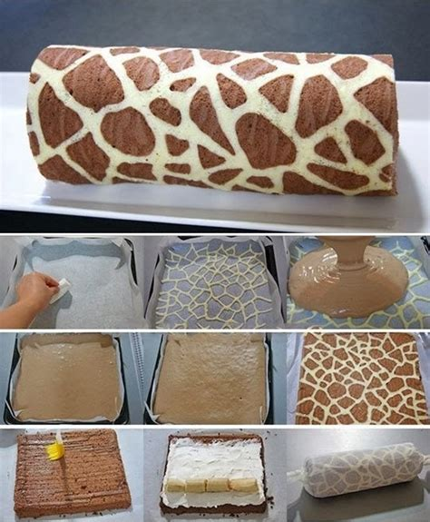 wonderful diy swiss roll cake with giraffe pattern