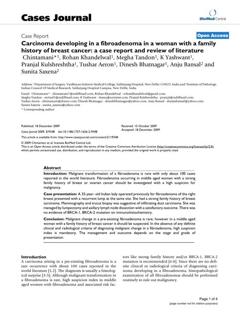Pdf History Of Breast Cancer Research by Pdf Carcinoma Developing In A Fibroadenoma In