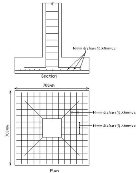 steel column section column footing plan and section foundation design adi