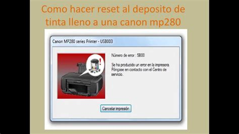 reset para impresora canon mp280 gratis como hacer rest al deposito de tinta lleno de una mp250