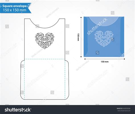 laser cut pocket envelope template wedding stock vector