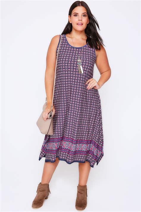 Hem Bordir purple sleeveless border print midi dress with hanky hem