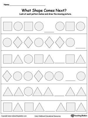 shape pattern worksheets year 1 preschool patterns printable worksheets