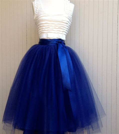 Skirt Tutu Ribbon navy blue tulle skirt tutu for lined in black satin with a navy satin ribbon waist for
