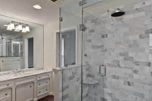 Carrera marble tile master bath