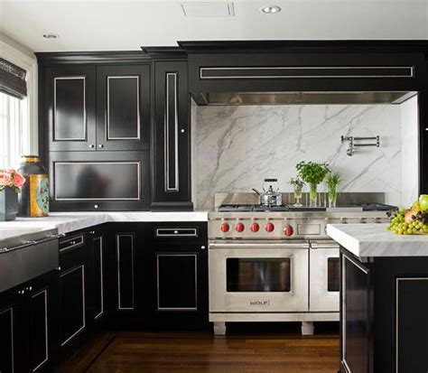 black cabinet kitchen black and white kitchen transitional kitchen